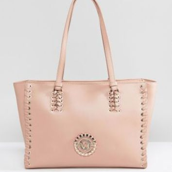 Versace Jeans Lace Up Tote with VJ Logo at asos.com