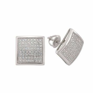 925 Solid sterling silver men earrings with accent screwback NEW.