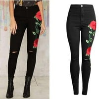 Women's Fashion Slim Embroidery Jeans