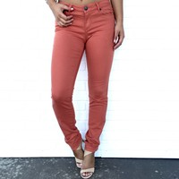 Classic Skinny Pants In Rust