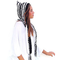 Crochet hat - hood, hooded scarf, crocheted neck warmer, black white braids