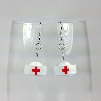 Gift for Nurse Hat Earrings- nurse gift, nurse earrings, nurse jewelry, nurse graduation gift ideas, nurse accessories, red cross nurse hats