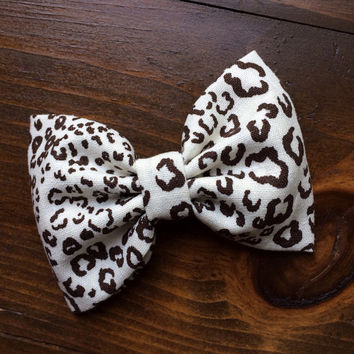 Large cheetah hair bow from Seaside Sparrow.  Perfect gift for her.