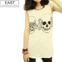 X0-265 Women T shirt New Fashion Ladies Clothes Skull Print Vest Woman Skeleton tank Tops