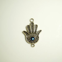 Silver plated Hand of HAmza with evil eye connector-1