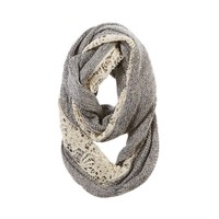 AERIE CROCHET INSET & SPARKLE KNIT LOOP SCARF