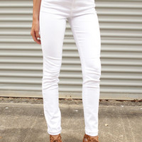 Yes Maam High Waisted White Jeans