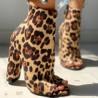 New summer 2020 snake pattern High heel Thick heel Fish mouth Leopard Sandals brown shoes