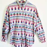90s Southwestern Flannel Shirt -- Ethnic Woven Geometric Button Up  -- Slouchy Long Sleeved Blouse -- Womens Size Large