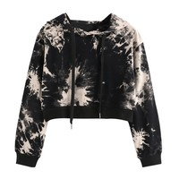 Feitong Women Short Sweatshirt Hoodies Lady Printed Long Sleeve Jumper Sudadera Mujer Women Harajuku Crop Top Hoodies #VE