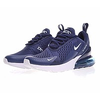 N NIKE Air Max 270 FLYKNIT Fashion new air cushion sports running men shoes Navy blue