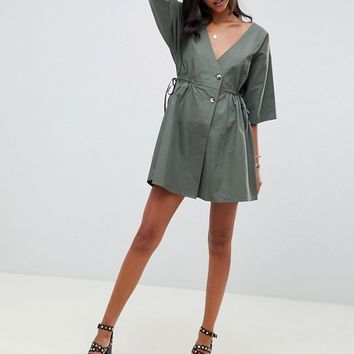 ASOS DESIGN v front v back casual smock mini dress with buttons | ASOS