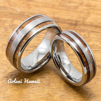 Wedding Band Set of Brushed Tungsten Rings with Koa Wood Inlay (6mm & 8mm width, Barrel Style)