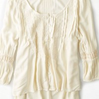 AEO Women's Pintucked Peasant Shirt (Cream)