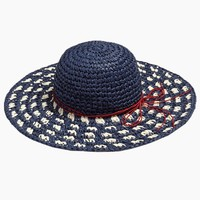 Woven Check Floppy Sun Hat - Navy Blue and White