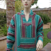1970s Vintage Mexican Mans Baja Woven Turquoise Pullover Hoodie  ~ Size Small Man Medium Woman ~ Tag Says El Paseo Saddle Blanket Co.