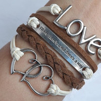 """Soulmate couple bracelets-Antique silver LOVE and""""where there's a will there's a way"""" bracelet , Heart to Heart , leather bracelet J-122"""