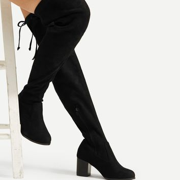Lace Up Block Heeled Thigh High Boots