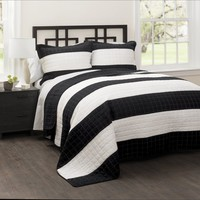 Black White Wide Stripe Quilt Bedding SET