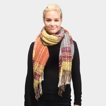 Multi Colored Plaid Oblong Scarf (Click For More Colors)