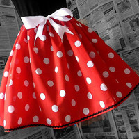 MInnie Mouse Costume, Cosplay, Mrs Minnie Outfit, Full Spotty Womens Skirt, Full Skirt, Minnie Mouse Inspired, From ROOBYS