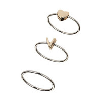 Heart V Initial Midi Ring Pack - Rings  - Jewelry