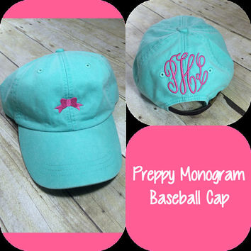Monogram Baseball Cap with Bow - Preppy Monogram Hat - Girly Monogram Cap - Personalized Hat