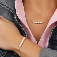 Simple Design Pearls Fashion Stylish Chain Necklace (With Thanksgiving&Christmas Gift Box)= 4831097924