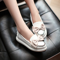 Bowtie Women Wedges Round Toe Loafers Platform Shoes 3404