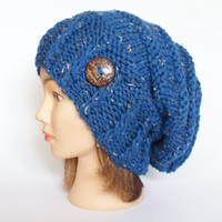 Blue Tweed slouch hat women - beanies hat - Slouch Beanie - #cobalt - chunky hat - Chunky Knit Winter Fall Accessories , Slouchy hat