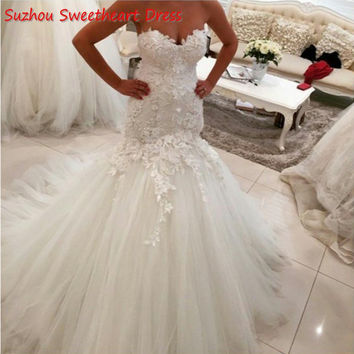 Exquisite 3D-Floral Appliques Wedding Dresses Puffy Mermaid Tulle Skirt Corset Back Long White 2017 Sweetheart Bridal Gown