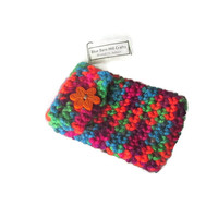 Crocheted Clip On Pouch - Zipper Pull - Neon Multicolored - Item 1049