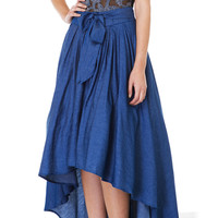 Bow Waist Short Front Ruffled Mid Tent Skirt