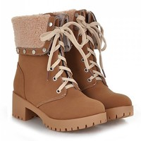 Fashion Women's Short Boots With Turnover and Rivets Design