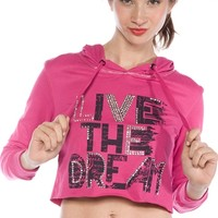 Live the Dream Cropped Hoodie - Pink from One Step Up at Lucky 21