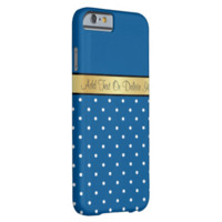 Gold Monogram Elegant Ocean Blue /White Polka Dots Barely There iPhone 6 Case
