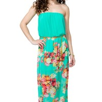 Floral Bouquet Belted Maxi