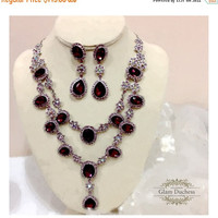 Wedding jewelry set, vintage inspired Marsala crystal necklace statement earrings, Wine red crystal jewelry set, formal evening jewelry