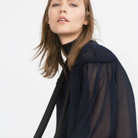 BLOUSE WITH EMBROIDERED BIB FRONT