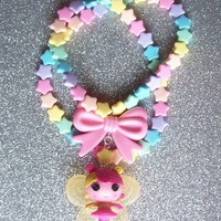 Fairy Kei - Lalaloopsy Fairy Doll and Bow Charm on Pastel Rainbow Star Necklace with Matching Stretch Bracelet from On Secret Wings