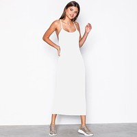 fhotwinter19 Sexy loose solid color camisole sleeveless backless tube top dress