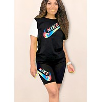 NIKE tide brand female printing letter sports and leisure set two-piece Black