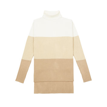 KT218 Colour Block Turtle Neck Sweater - Ivory/Beige/Tan