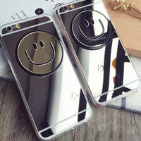 Fashion Mirror Smiling Face Mobile Phone Case For Iphone X 7 7plus 8 8plus 5 5s SE 6 6s 6plus 6s plus + Nice gift box!