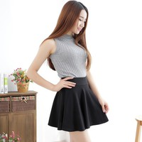 Fashion Sexy Women Skirt Black Plus Size XL Fall Winter Skirts High Waist Pleated Skirt Womens Tennis Skater Tutu Short Skirt