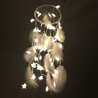 Big LED Star Light Dreamcatcher  White Feather Pearl Dream Catcher Wall Hanging Home Party Decoration