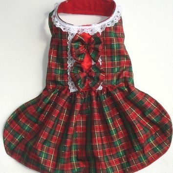 Holiday Plaid Red And Green Dog Dress