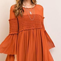Wild and Free Long Bell Sleeve Scoop Neck Smocked A Line Mini Dress - 3 Colors Available - Sold Out