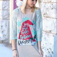 Santa Hat: Joy, Love, Peace, Believe, Christmas Shimmer Sleeve Raglan - Size MEDIUM