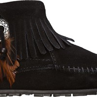 MINNETONKA CONCHO FEATHER SIDE ZIP BOOT
